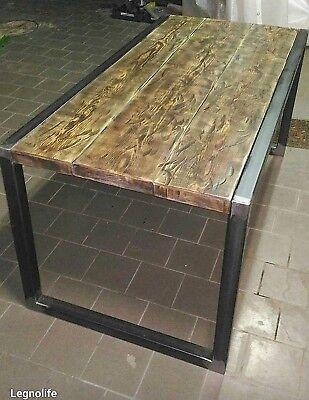 Tavolo da pranzo in ferro e legno design industrial | eBay