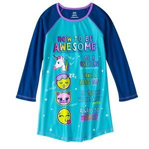 584f651cc Image is loading Walmart-Girls-Long-Sleeve-Raglan-Sleep-Night-Gown-