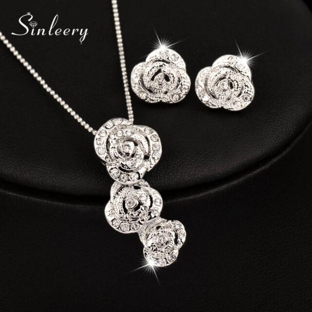 18k White Gold 3 Rose Flower Pendant Necklace Earrings Wedding Jewelry Set Tz139