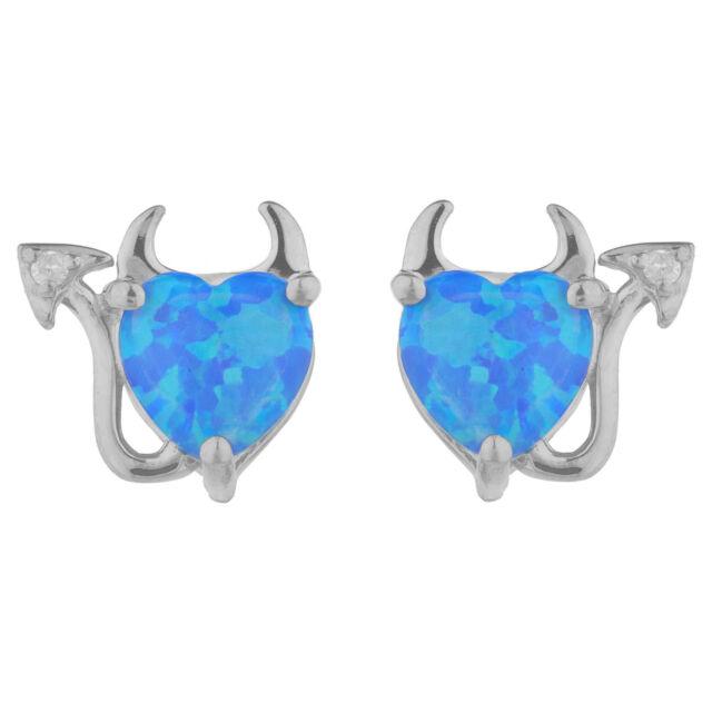 Blue Opal Diamond Devil Heart Stud Earrings 14kt White Gold