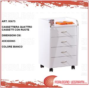 Cassettiera Da Scrivania Con Ruote.Cassettiera In Legno Bianca 4 Cassetti Da Scrivania Per Ufficio