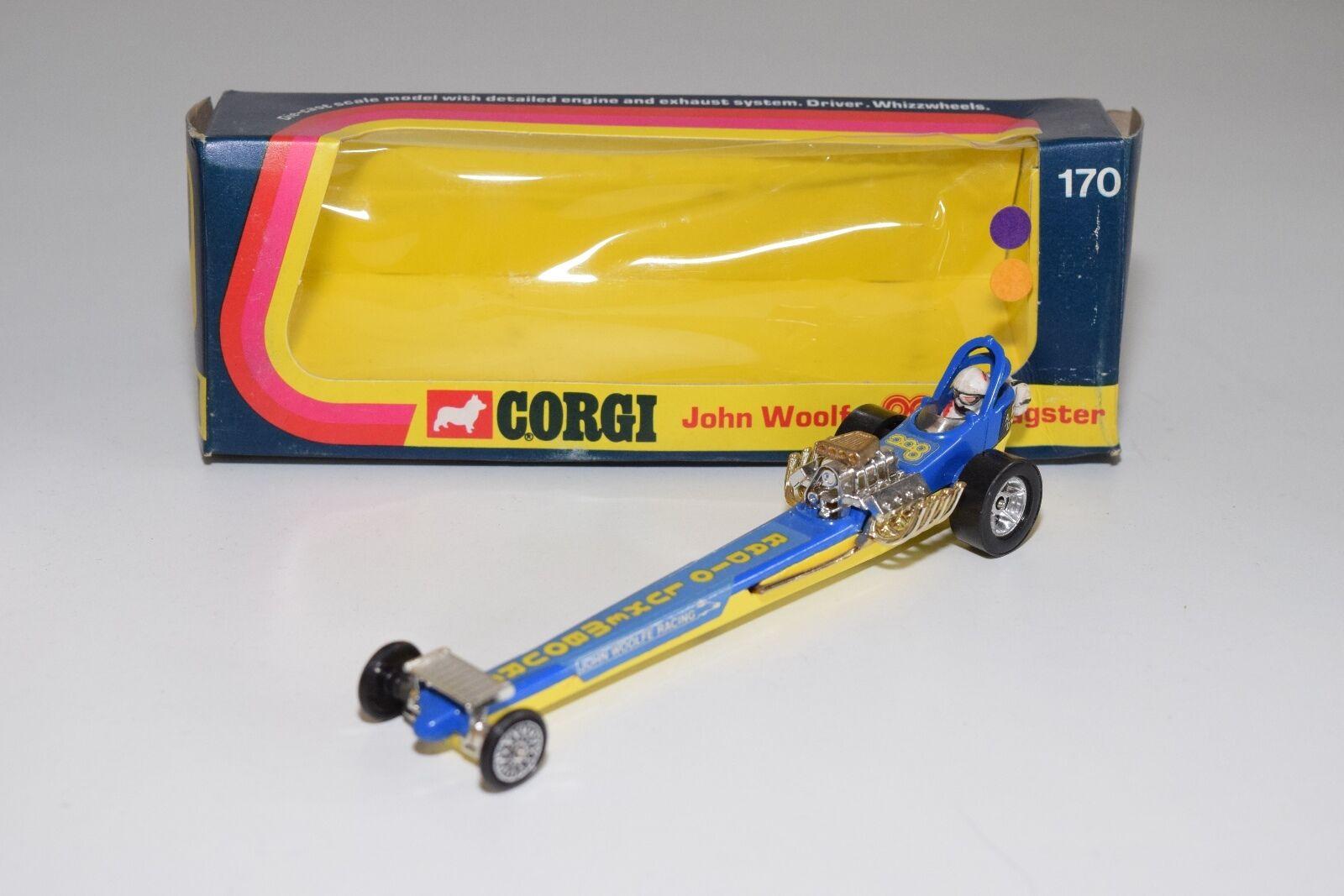 \\ CORGI TOYS 170 JOHN WOOLFE DRAGSTER Blau Gelb MINT BOXED