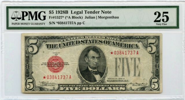 Genuine 1928B PMG VF25 $5 Red Seal STAR Legal Tender Note