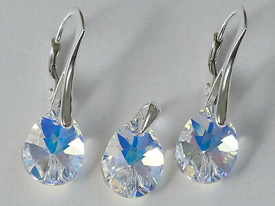 SET PEAR 12 GENUINE SWAROVSKI CRYSTAL earrings + pendant STERLING SILVER 7Colour