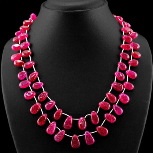 Amazing 372.00 cts Earth mined Rich Red Ruby 2 Strand Poire Perles Collier