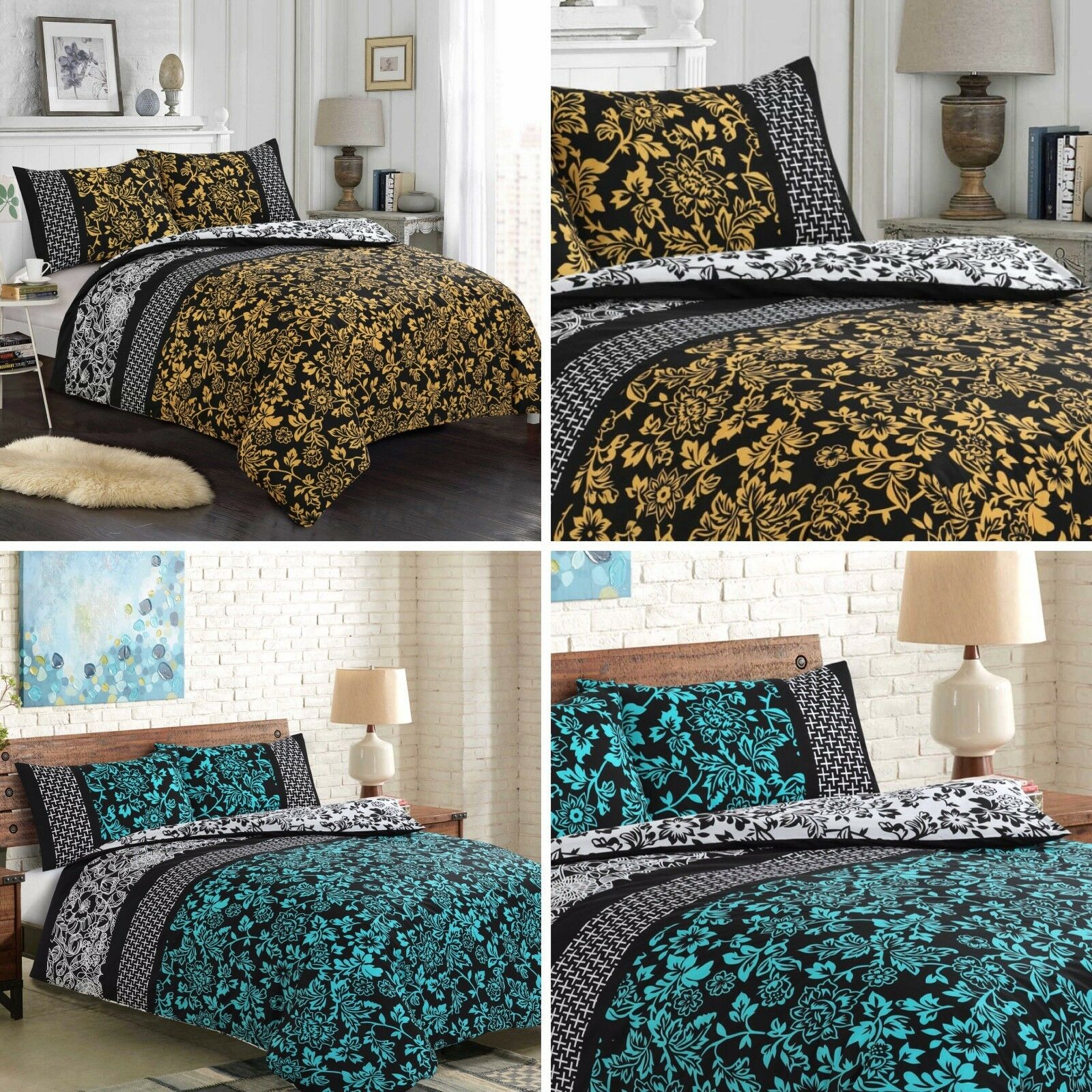 Elegance 100% pure Cotton Printed Duvet Cover Sets+Fitted Sheets All Sizes