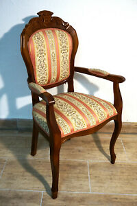 Biedermeier-Sessel-Stuhl-Massiv-Holz-Samtbezug-empire-chair-chaise-furniture
