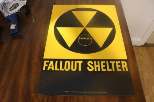 Original 1960s metal NOS big 20 x 14 Civil Defense fallout shelter sign not repr