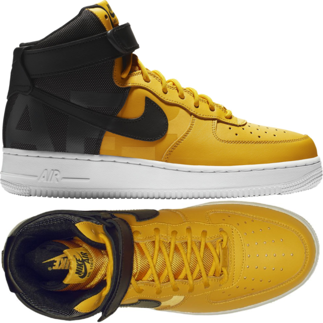 Nike Air Force 1 High 07 Lv8 Black/Mustard Men\u0027s Shoes Lifestyle Comfy  Sneakers