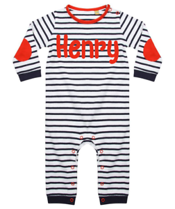 Personalised Name Baby Suit Stripy Babygrow Bodysuit Baby Clothes Blue Boy
