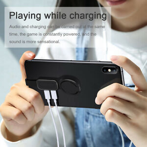 Dual-Ring-Holder-Adapter-Audio-amp-charging-180-Adjustable-for-iPhone-iOS-Adapter