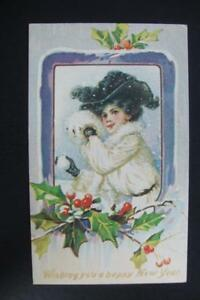 """LADY ~ /""""WISHING YOU A HAPPY NEW YEAR/"""" ~ NEW YEAR POSTCARD ~ REPRODUCTION 937"""