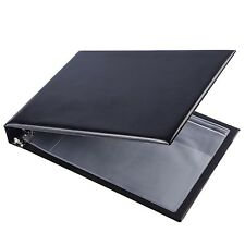 7 Ring Business Check Book Binder 3 On A Page Zippered Leather Book Vinyl Black