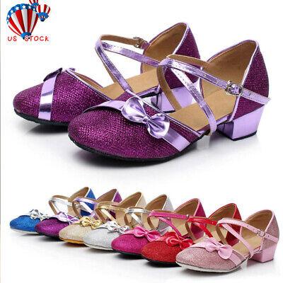 Toddler Baby Kids Girls Single Party Princess Dancing Ballroom Tango Latin Shoes