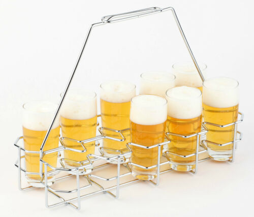 Bierglasträger für 10 Gläser 0,2-0,3 Liter Verchromt Träger Bier Gastlando