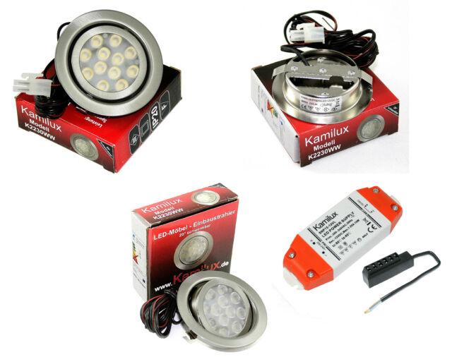 12V piatte LED LAMPADE AD INCASSO MOO 3W Faretti da incasso mobili set completo