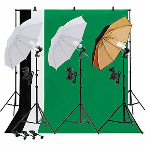 Image is loading Photo-Studio-Lighting-Photography-3-Backdrop-stand-Muslin-  sc 1 st  eBay & Photo Studio Lighting Photography 3 Backdrop stand Muslin Light Kit ...