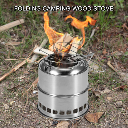 Outdoor Folding Camping Stove Cooking Wood Burning Stove with Alcohol Tray D6E9