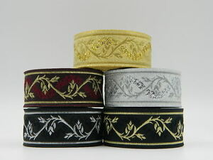 1m-Jacquard-Ribbon-Trim-Ivy-33mm-width-Various-colours-available