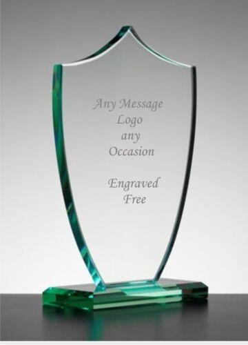 Personalised Engraved Jade Glass Shield Trophy Award Corporate Award