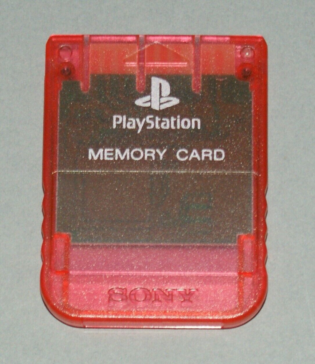 Clear Red Official PS1 Memory Card - Sony PlayStation One Tested SCPH-1020 #2