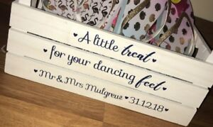 cc54e6e0b4a9 Treat Your Dancing Feet Wedding Sticker Sign for Box Crate Slippers ...
