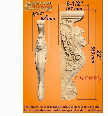 Corbel Fireplace Island Onlay Hand Carved Hard Wood Lion Base Mantel