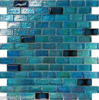 Sample Blue Iridescent Glass Mosaic Tile Kitchen Backsplash Spa Pool Faucet Sink