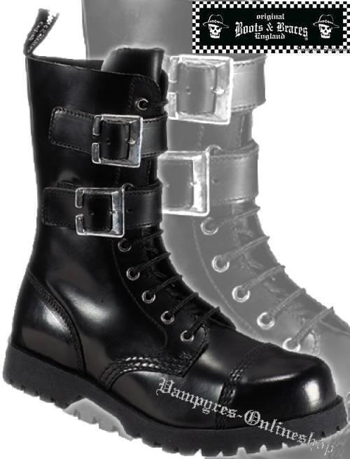 Boots & Braces Stiefel 10-Loch 2-Schnallen Schwarz And Rangers Stahlkappen Noir