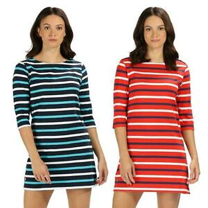 Regatta Womens Harlee Dress Striped Jersey Summer Cotton Coolweave