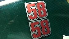 Simoncelli 58 Decal Sticker x2 Moto GP laptop, helmet, bike, car, scooter Silver