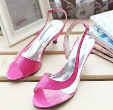 4db36ff8b10c Chic Womens Summer Peep Toe Blue Sandals Stiletto Mid Heels Shoes Plus Size