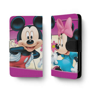 cheap for discount bf80c 64984 Details about Cartoon PU Leather Full Print Flip Wallet Phone Case Cover  Mickey Minnie Mouse