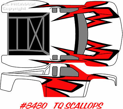 8480 TQ SCALLOPS Paint Mask RC Body Short Course  Durango Associated Losi decal