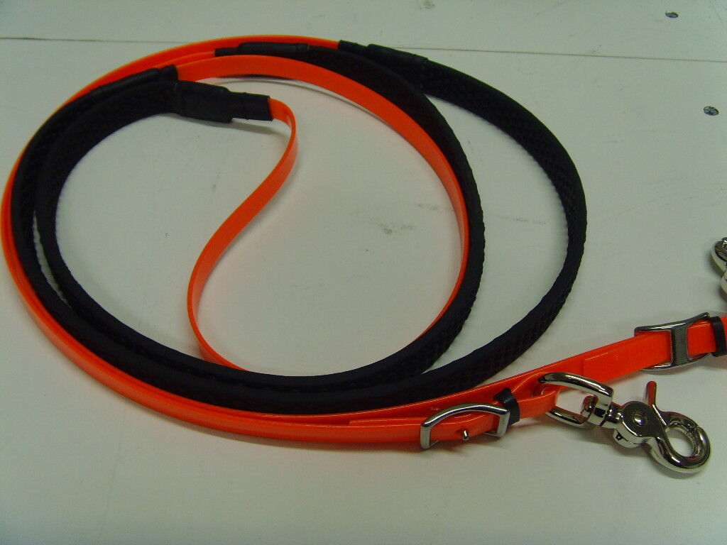 Translucent Pony Orange Rubber Grip Biothane reins Pony Translucent Größe 52