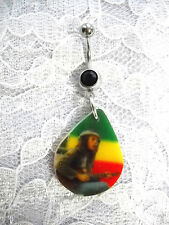 BOB MARLEY PLAYING GUITAR w HAT PHOTO RASTA COLORS ON BLACK CZ BELLY BUTTON RING