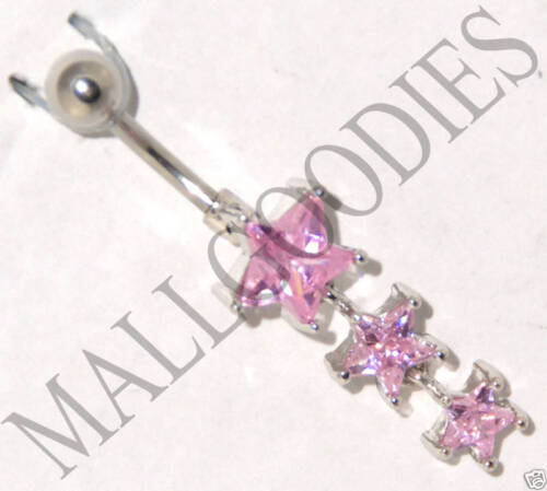 B002 Steel Belly Naval Ring 3 Stars Star Cute Dangly Pink Cubic Zirconia CZ