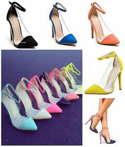 ee0b3a89c2f131 Das Bild wird geladen Damen-Clear-Acryl-High-Heels-Fesselriemchen-Color- Stiletto-