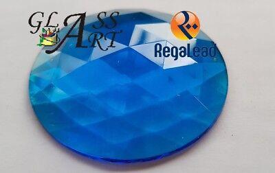 Suncatcher Aquamarine glass jewel Regalead RJ50R8 Blue 50mm stained glass lead