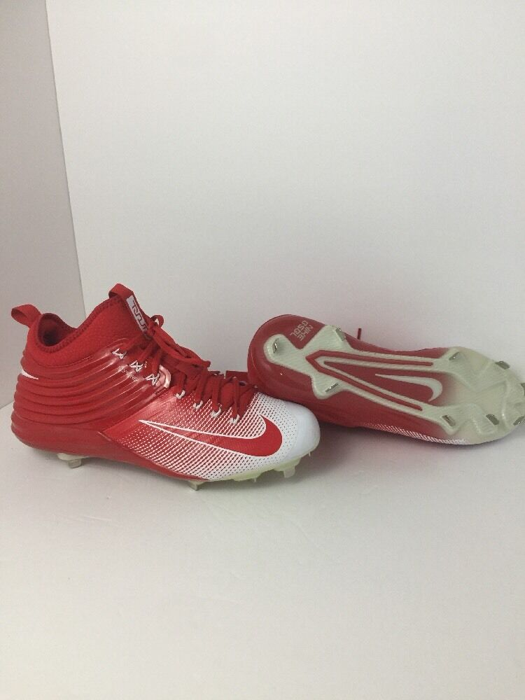 MENS NIKE MIKE TROUT LUNAR 2 BASEBALL METAL CLEATS RED WHITE sz 12 FLYWIRE