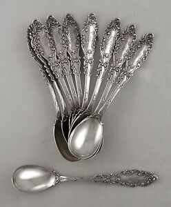 Sterling-Gorham-LUXEMBOURG-egg-spoon-set-of-10