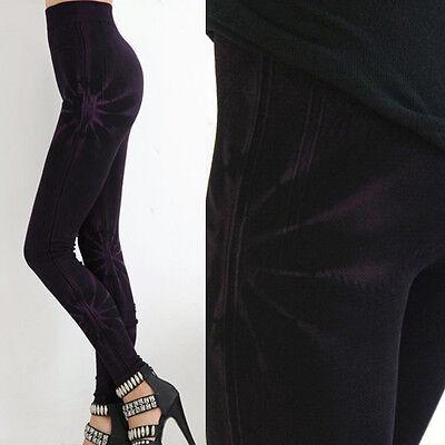 2019 Fashion Women/'s Denim Purple Sun Spiked Tie Dye Stretch Skinny Leggings OS