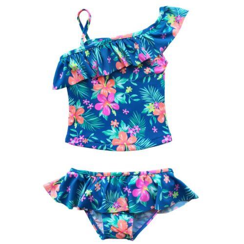 Toddler Kid Girls Floral Swimwear 2-Piece Tankini Swimsuit Beachwear Aged 2-7Yrs