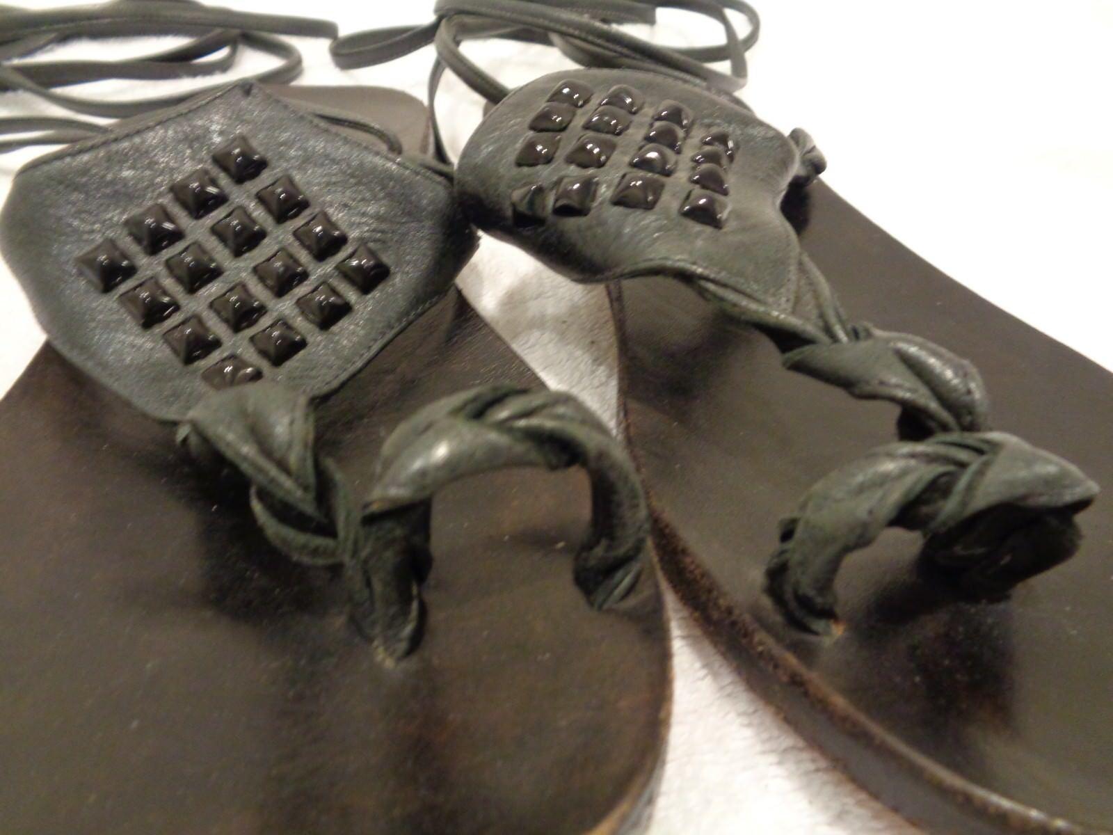 Kettle Black Black Black Ankle Strap studded Tie Toe Ring Slingback Sandals Flats SZ 7 d62d2d