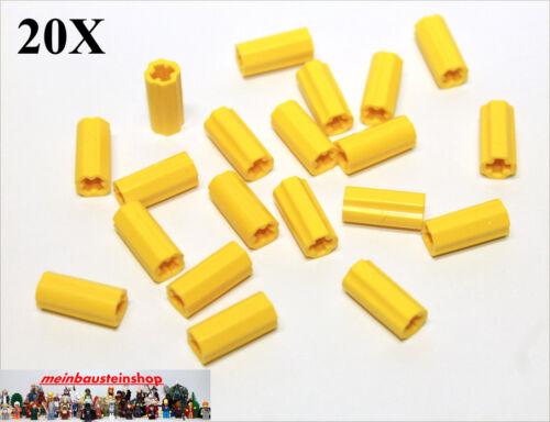 20x LEGO ® 6538c Technic ACH connettore bossoli connector GIALLO YELLOW NUOVO