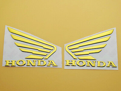 Motorcycle 3D ABS Gold Fuel Tank Emblem Decal Sticker For Honda Wing Pair