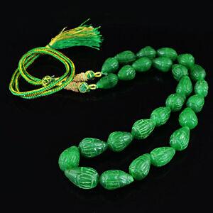 506.50 Cts Earth Mined Poire Sculptée Genuine Riche Vert émeraude Perles Collier-afficher Le Titre D'origine Une Gamme ComplèTe De SpéCifications