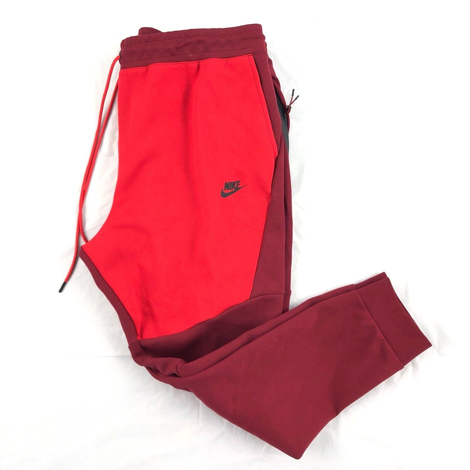red tech fleece pants
