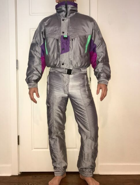 Vtg 80s NEVICA Silver Mens SKI SUIT One Piece Snow bib Neon Snowsuit 36 XS Small