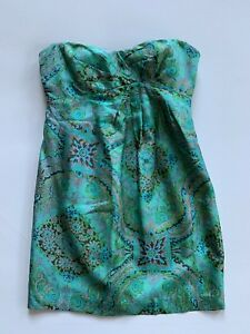 ee0ce898 J Crew Emerald & Jade Strapless 100% Silk Dress SZ 2 Summer Cocktail ...